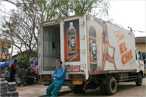 Josefina Tommasi A truck advertising the Che soft drink in Vallegrande, Bolivia.