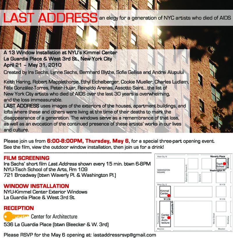 Last Address May 6 Opening
